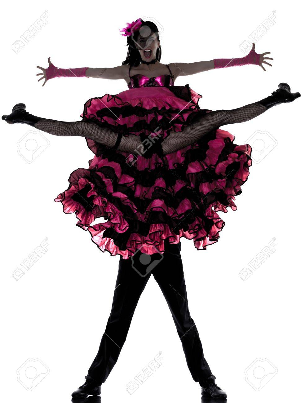couple man woman dancer dancing french cancan in studio isolated on white background Stock Photo - 13339642
