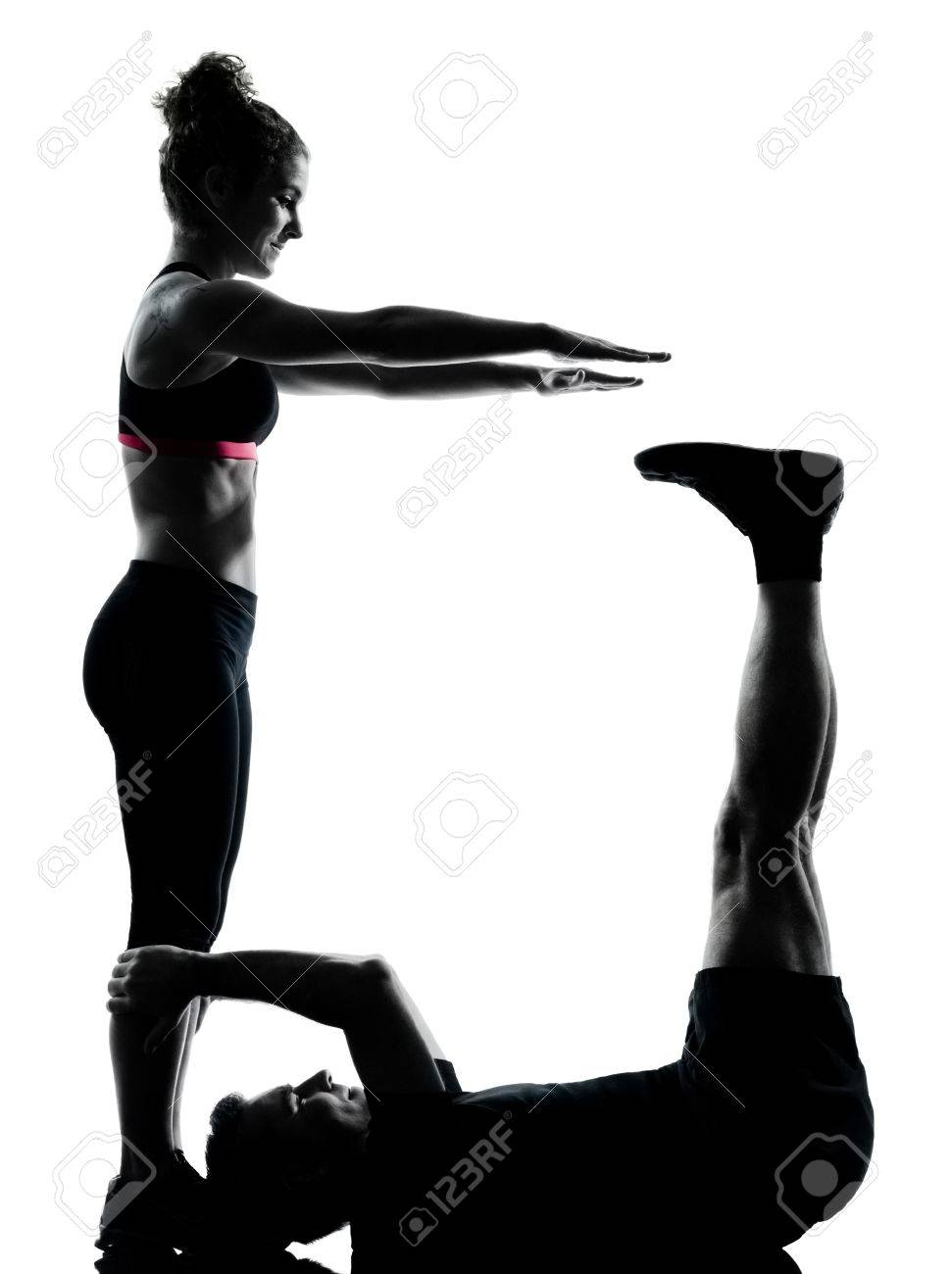 one couple man woman exercising workout aerobic fitness posture full length silhouette on studio isolated on white background Stock Photo - 13525168
