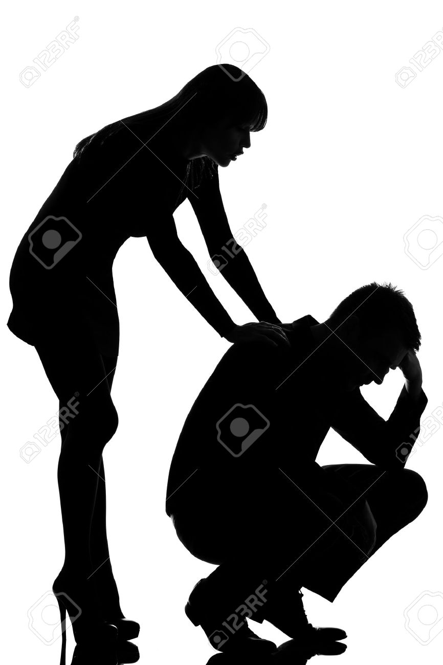 one caucasian couple man sad  and woman caring consoling in studio silhouette isolated on white background Stock Photo - 13339138