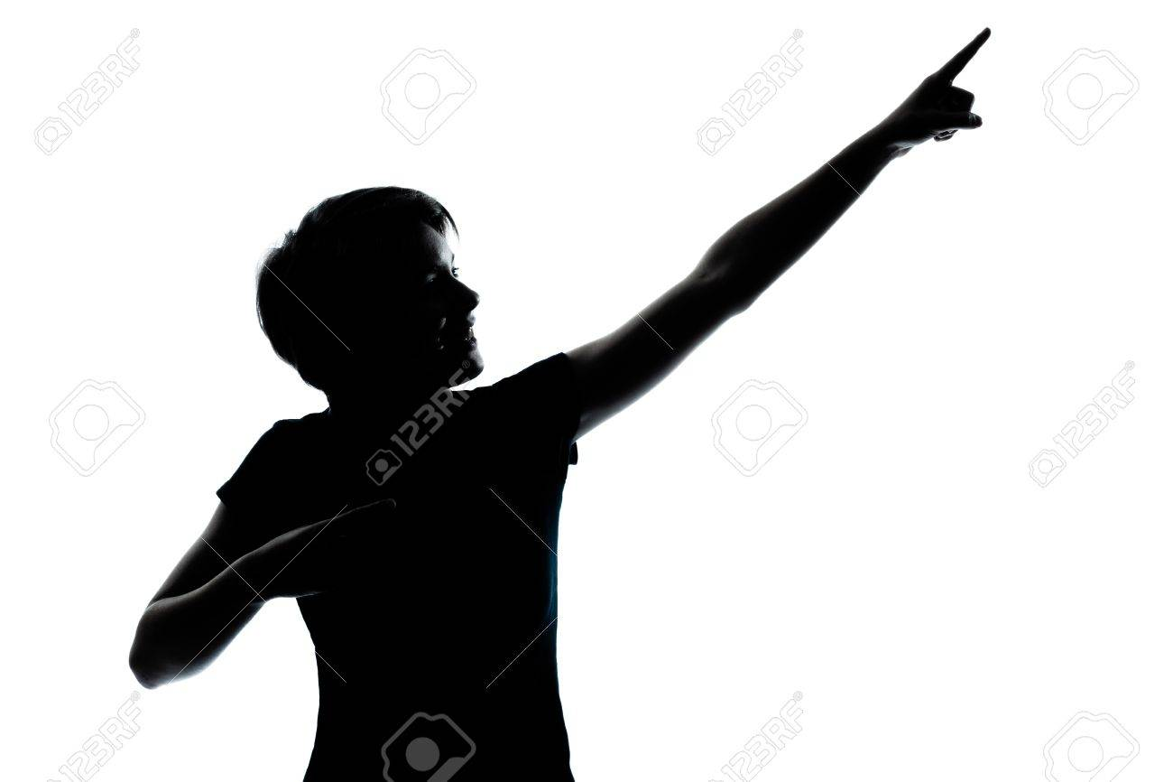 one caucasian young teenager silhouette boy or girl portrait in studio cut out isolated on white background Stock Photo - 13134460