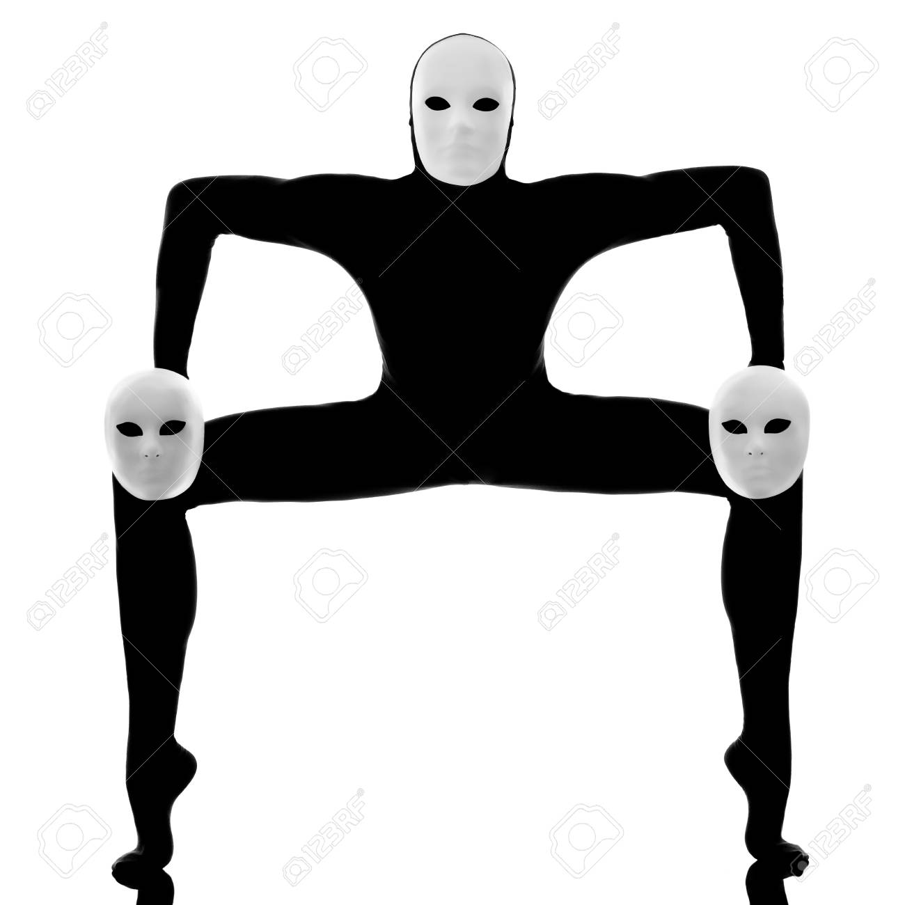 performer man mime with mask on studio isolated on white background Stock Photo - 13525324