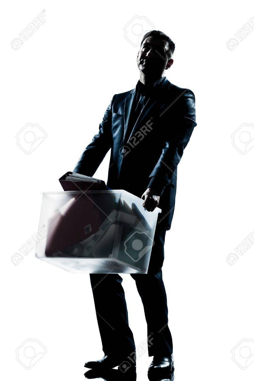 one caucasian man full length silhouette in studio isolated white background Stock Photo - 13737989