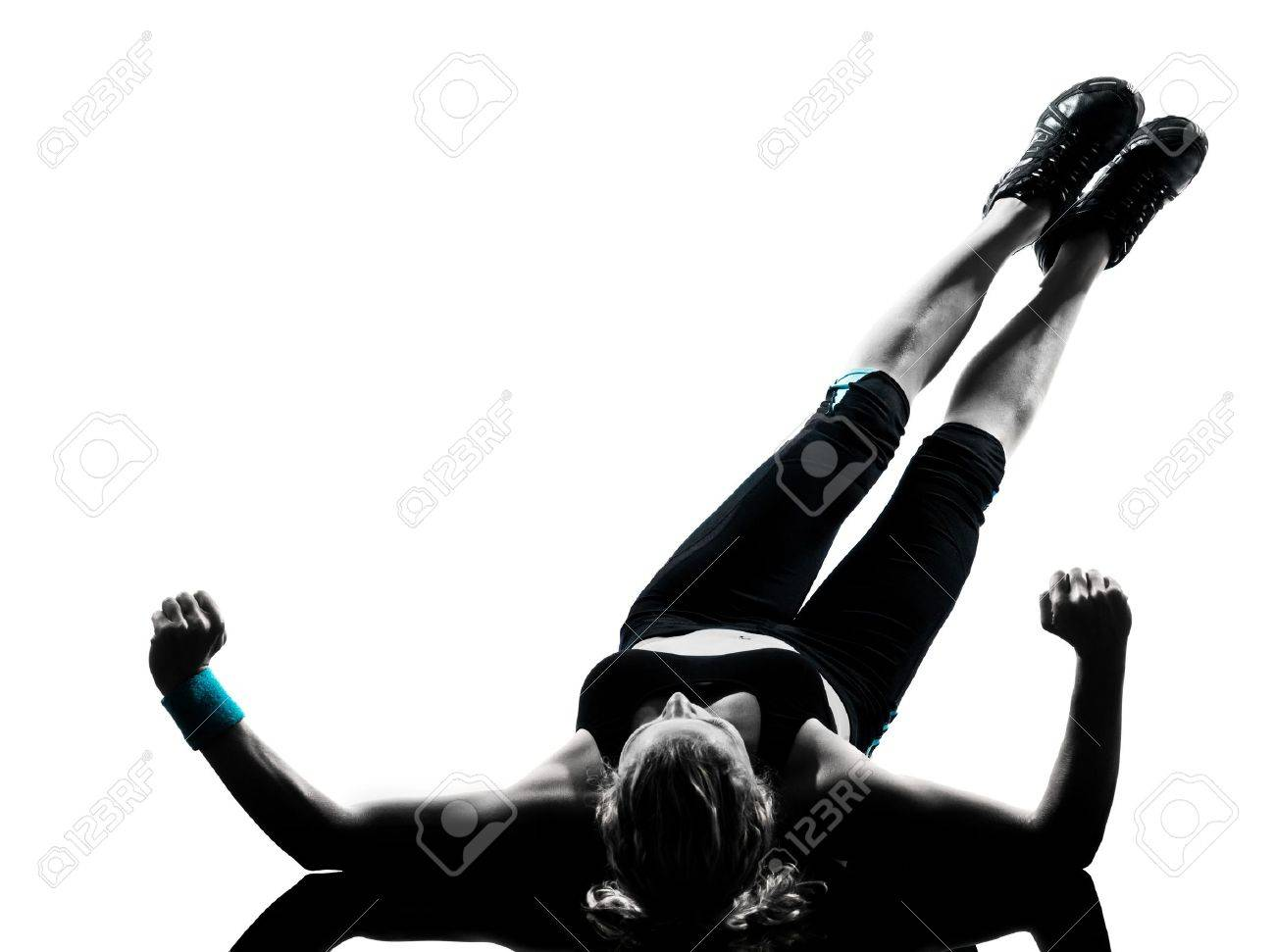one woman exercising workout fitness aerobic exercise abdominals push ups posture on studio isolated white background Stock Photo - 13888525