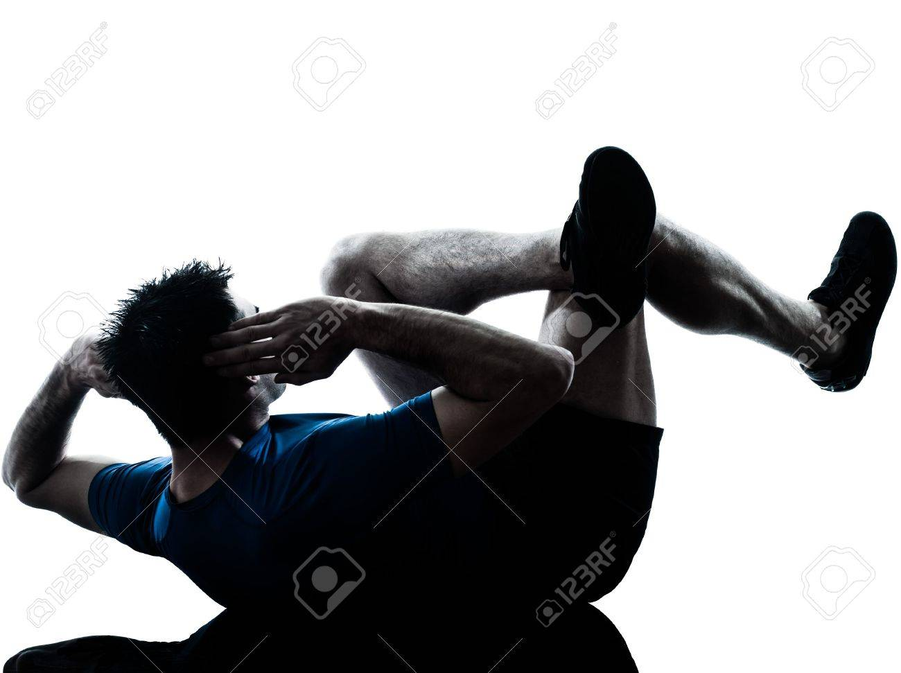 one caucasian man exercising workout fitness in silhouette studio  isolated on white background Stock Photo - 14070468