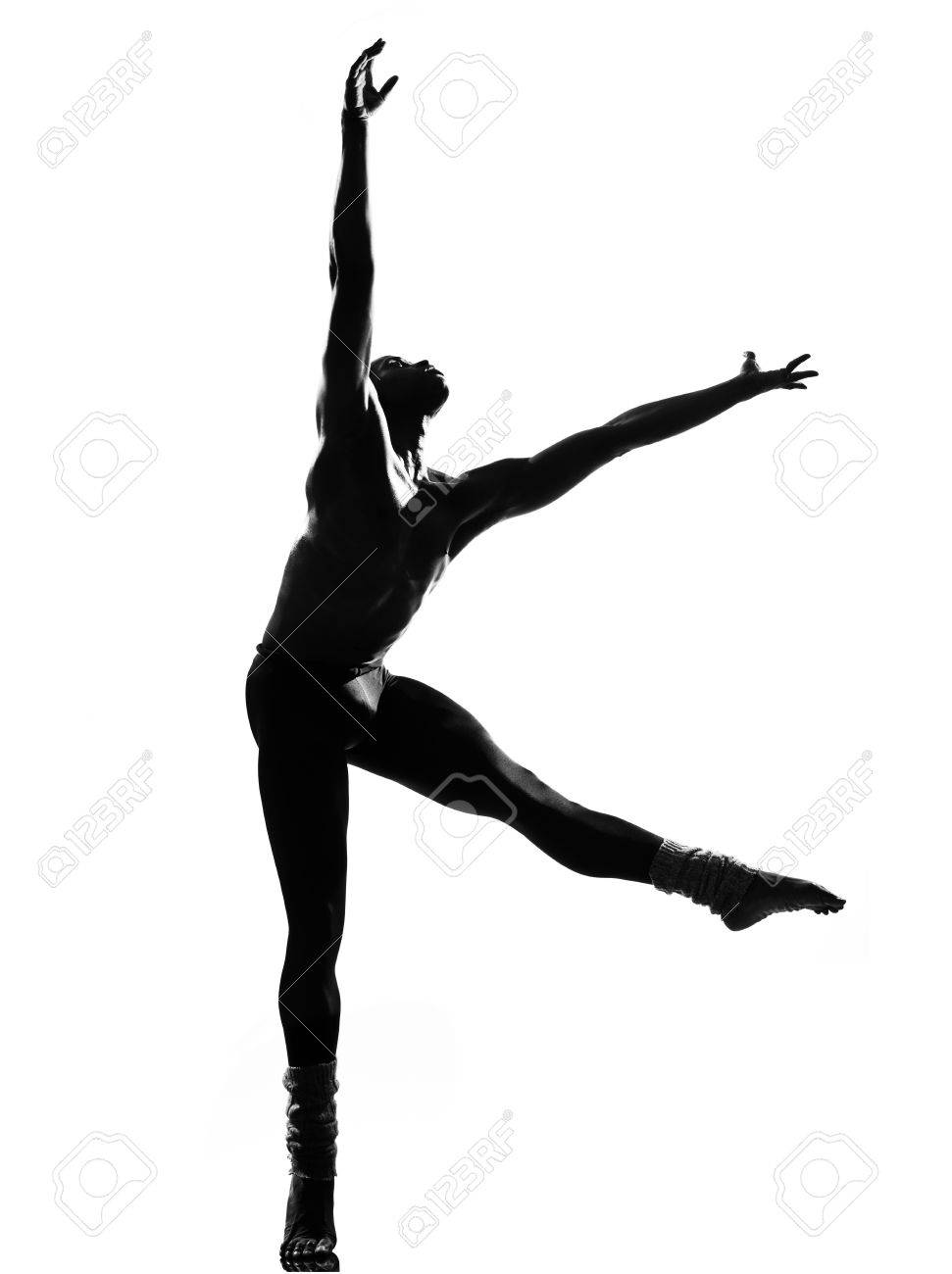 one  african man dancer dancing on studio isolated white background Stock Photo - 14394988