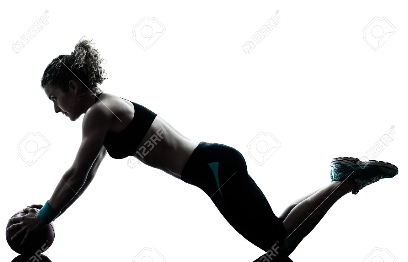 one caucasian woman exercising fitness ball workout posture in silhouette studio isolated on white background Stock Photo - 14649874