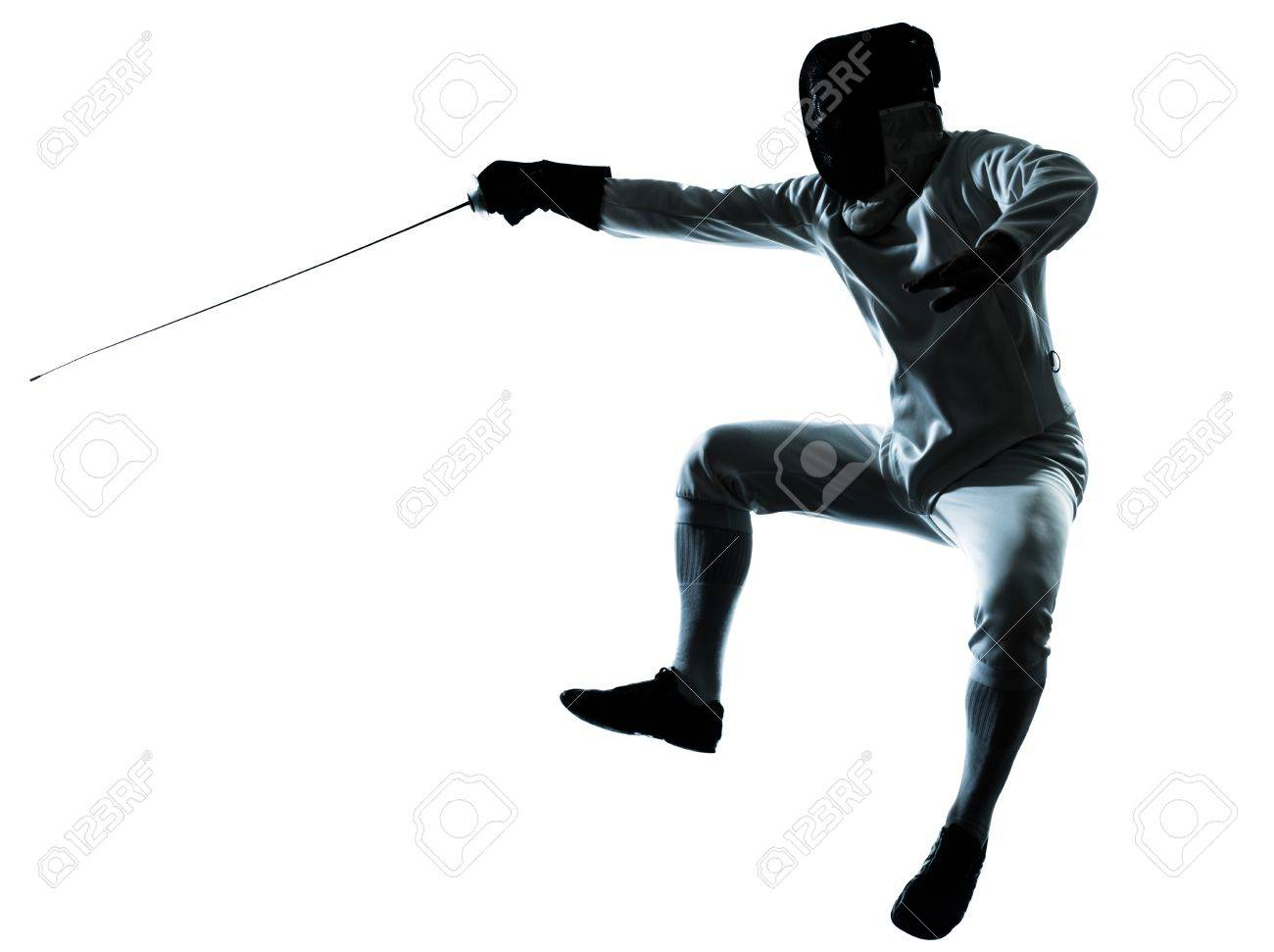 one man fencing silhouette in studio isolated on white background Stock Photo - 14649867