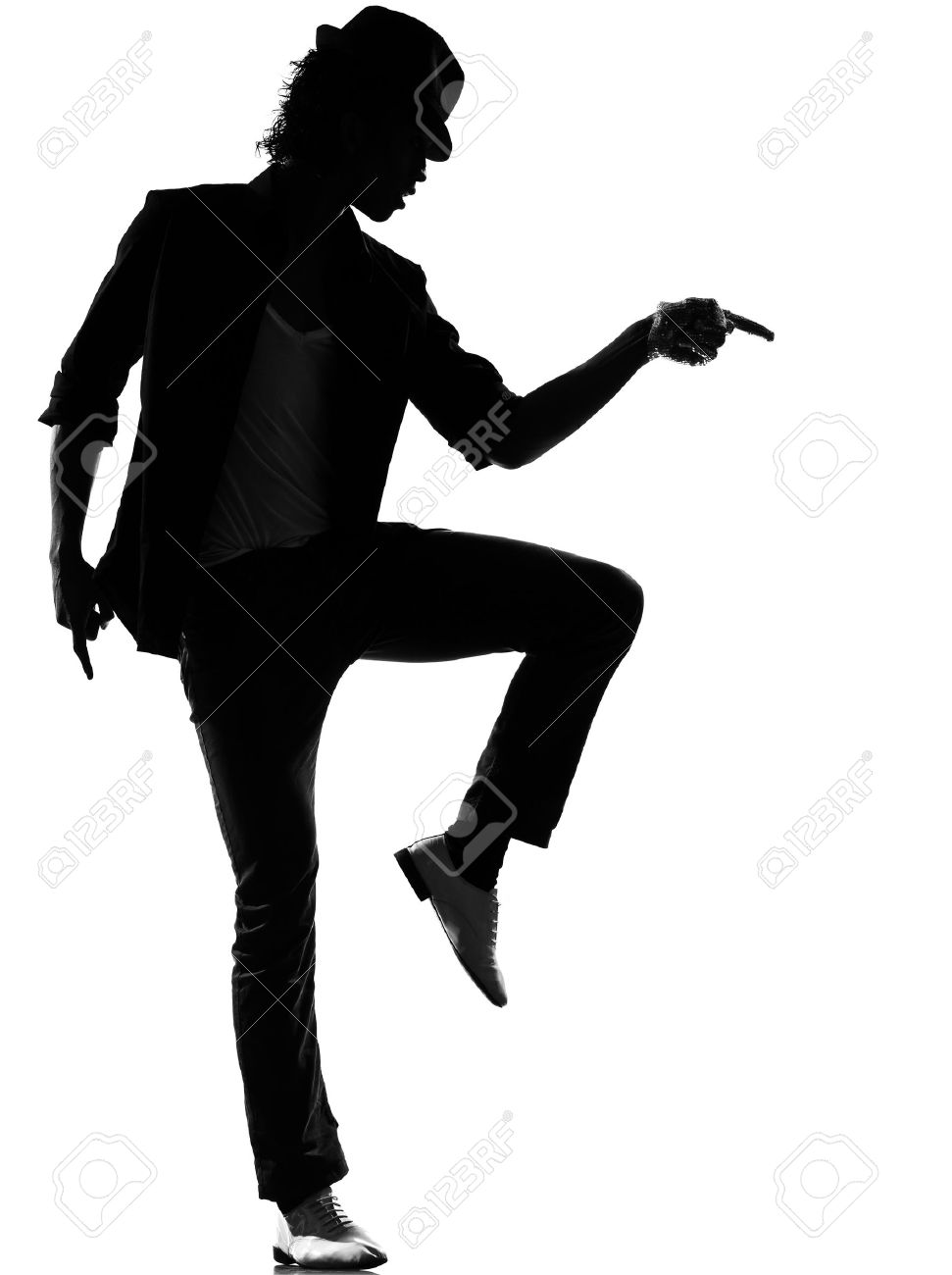 full length silhouette of a young man dancer dancing funky hip hop r&b on  isolated  studio white background Stock Photo - 14683171