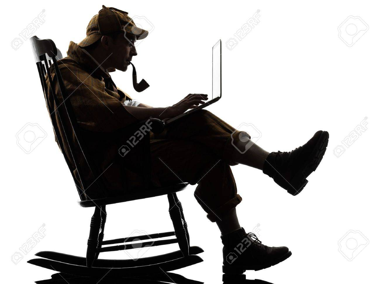 С днем частного сыска 14903551-sherlock-holmes-with-computer-laptop-silhouette-sitting-in-rocking-chair-in-studio-on-white-backgrou-Stock-Photo