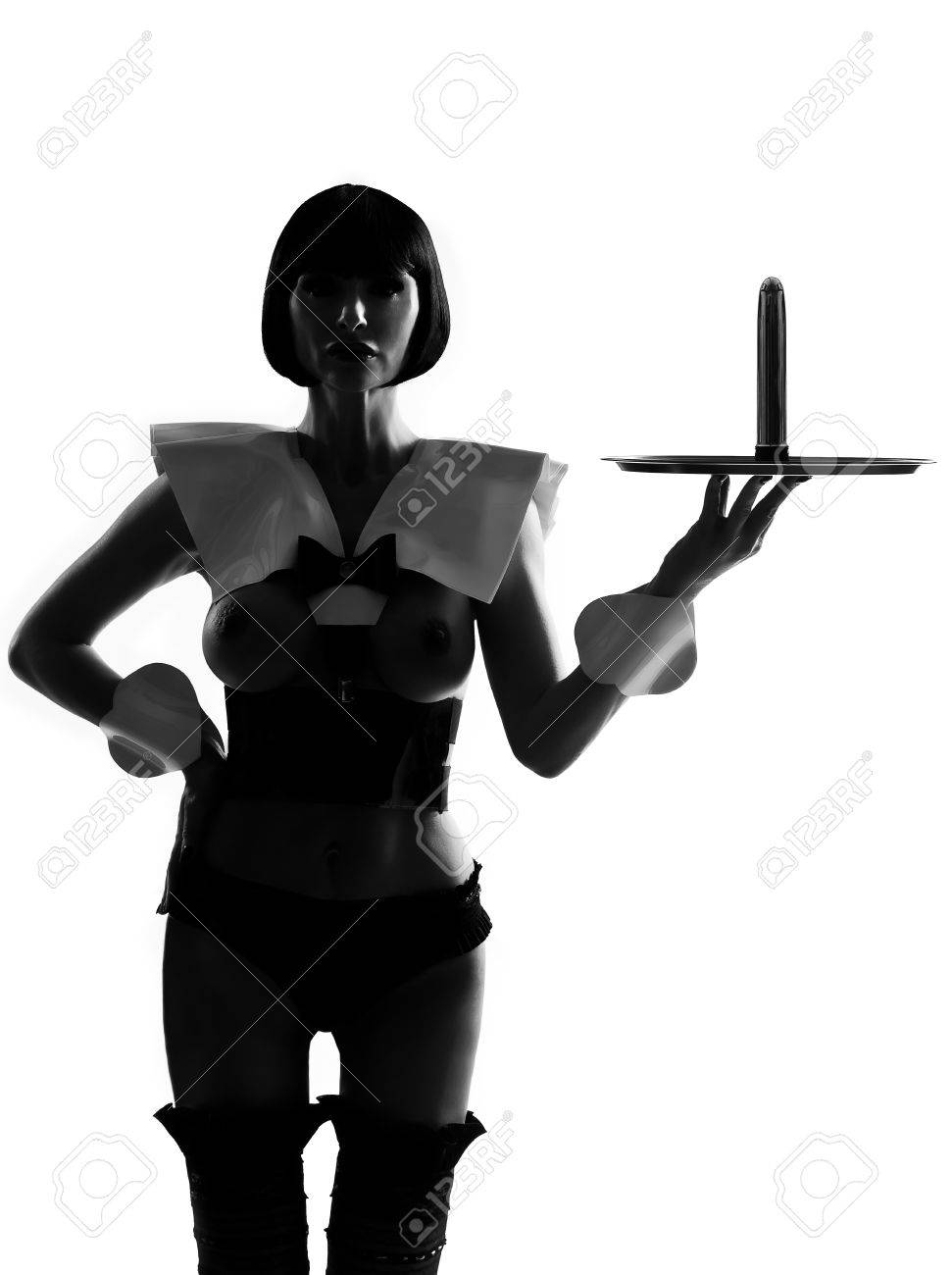 one sexy caucasian sexy woman  dress as a maid  with a dildo on a serving tray silhouette in studio isolated on white background Stock Photo - 15479389