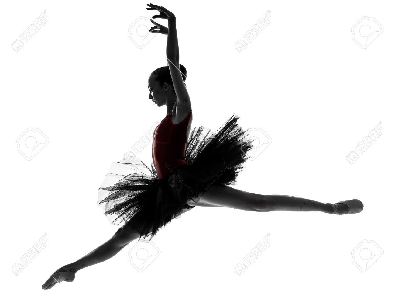 une caucasien jeune femme ballerine danseur de ballet avec tutu en studio silhouette sur fond blanc Banque d'images - 15480191