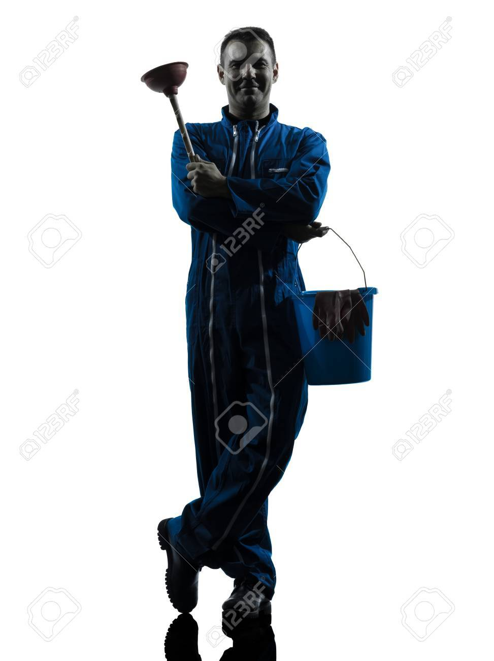 one caucasian janitor cleaner cleaning silhouette in studio on white background Stock Photo - 15477982