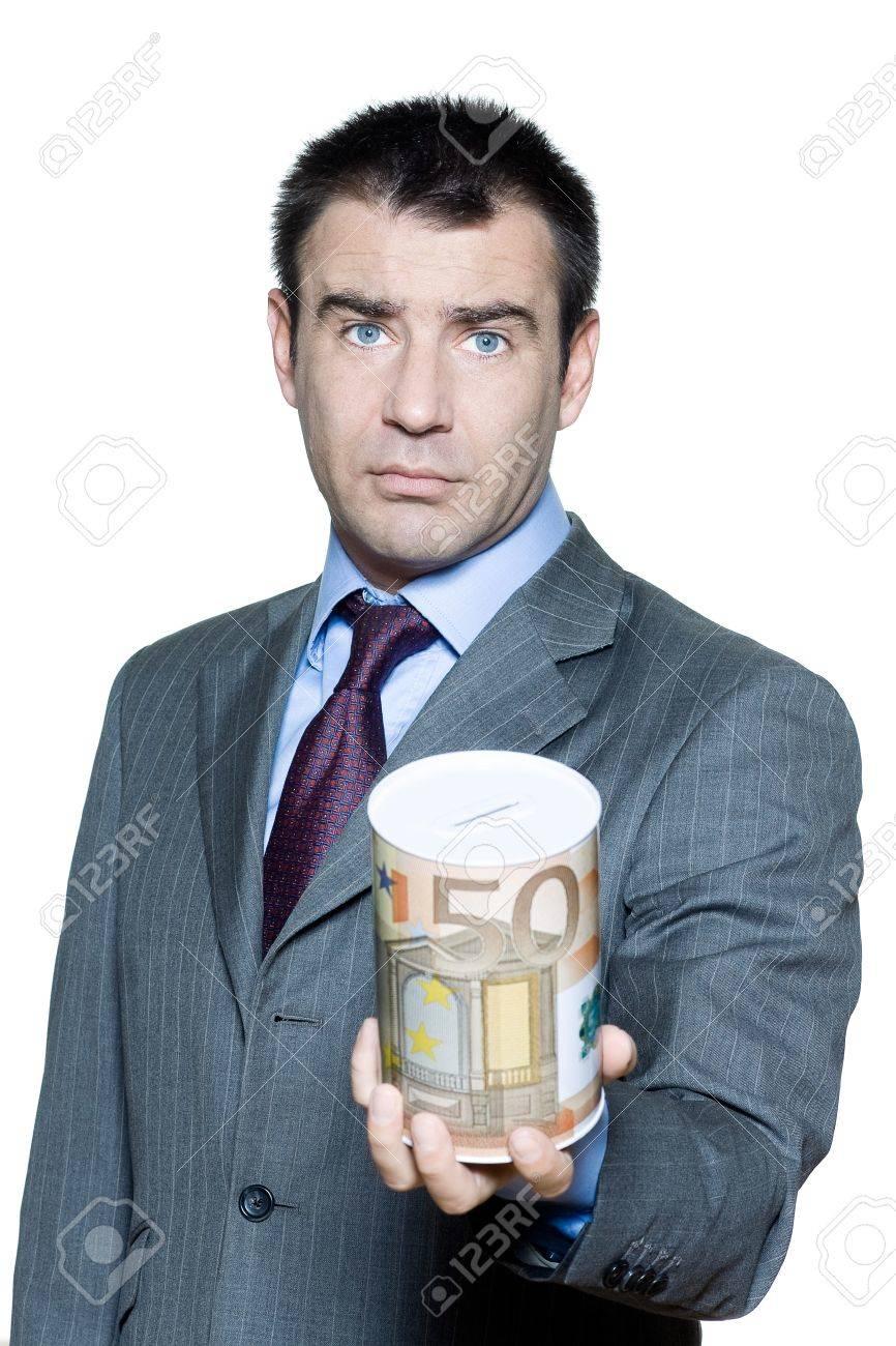 Portrait of businessman holding money box begging for money in studio on isolated white background Stock Photo - 15641590