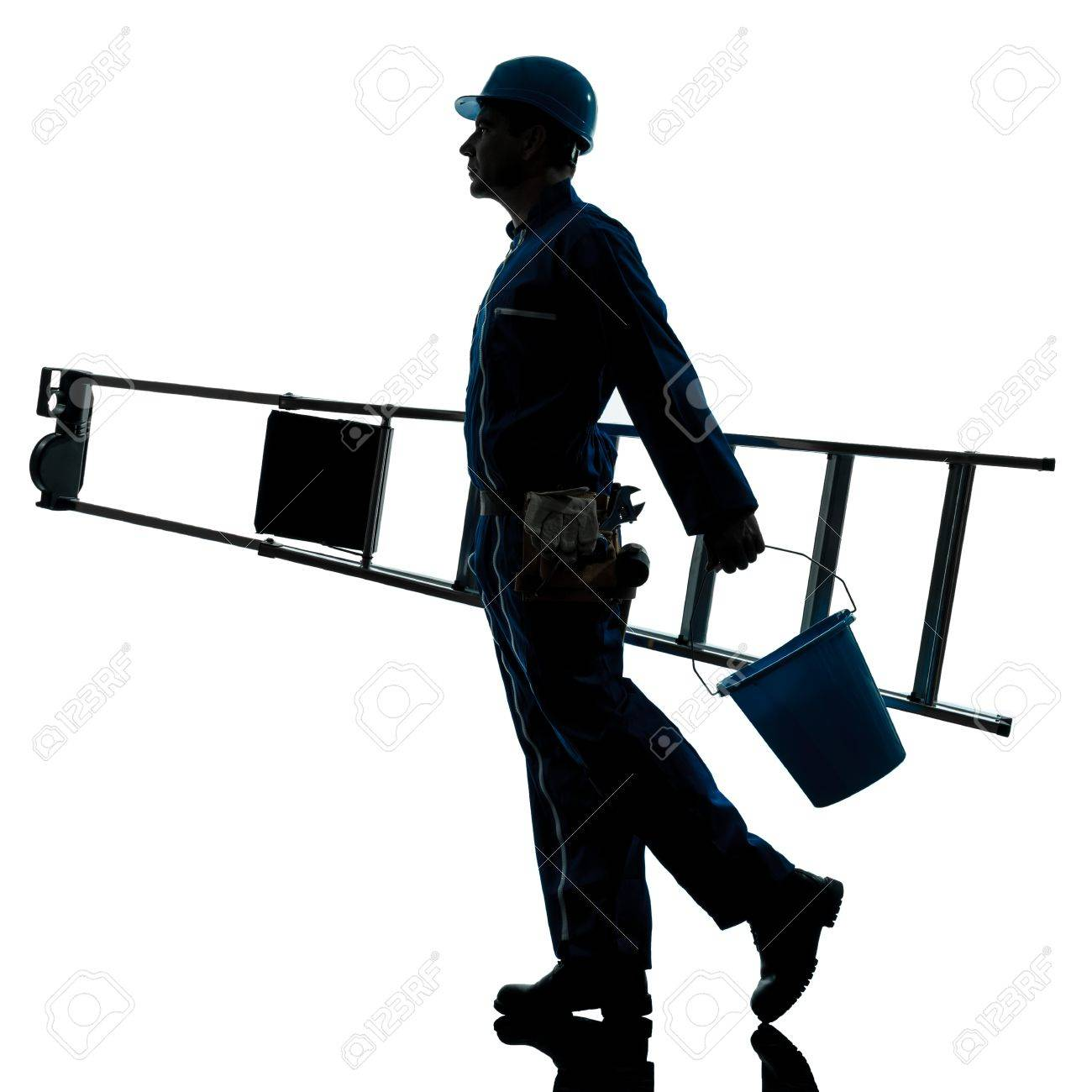 one caucasian repairman worker ladder walking silhouette in studio on white background Stock Photo - 15800435