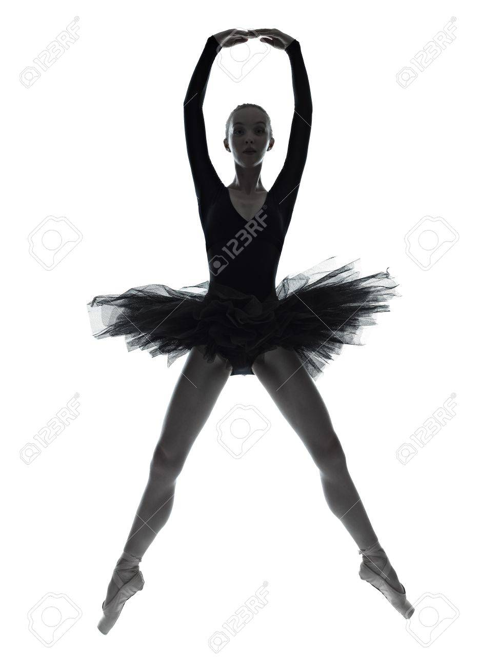 one caucasian young woman ballerina ballet dancer dancing with tutu in silhouette studio on white background Stock Photo - 16391788
