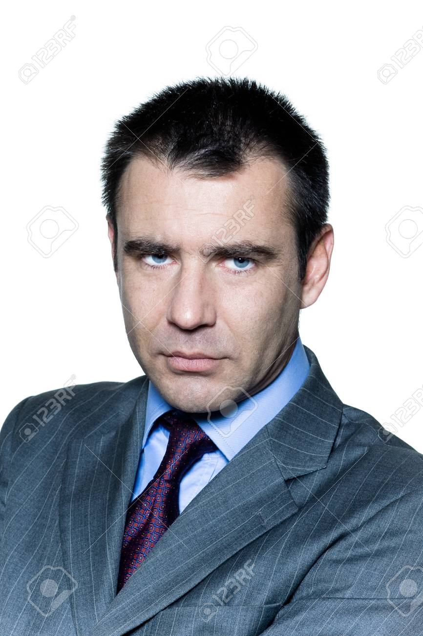 Closeup portrait of a pensive worried businessman in studio on isolated white background Stock Photo - 16658612