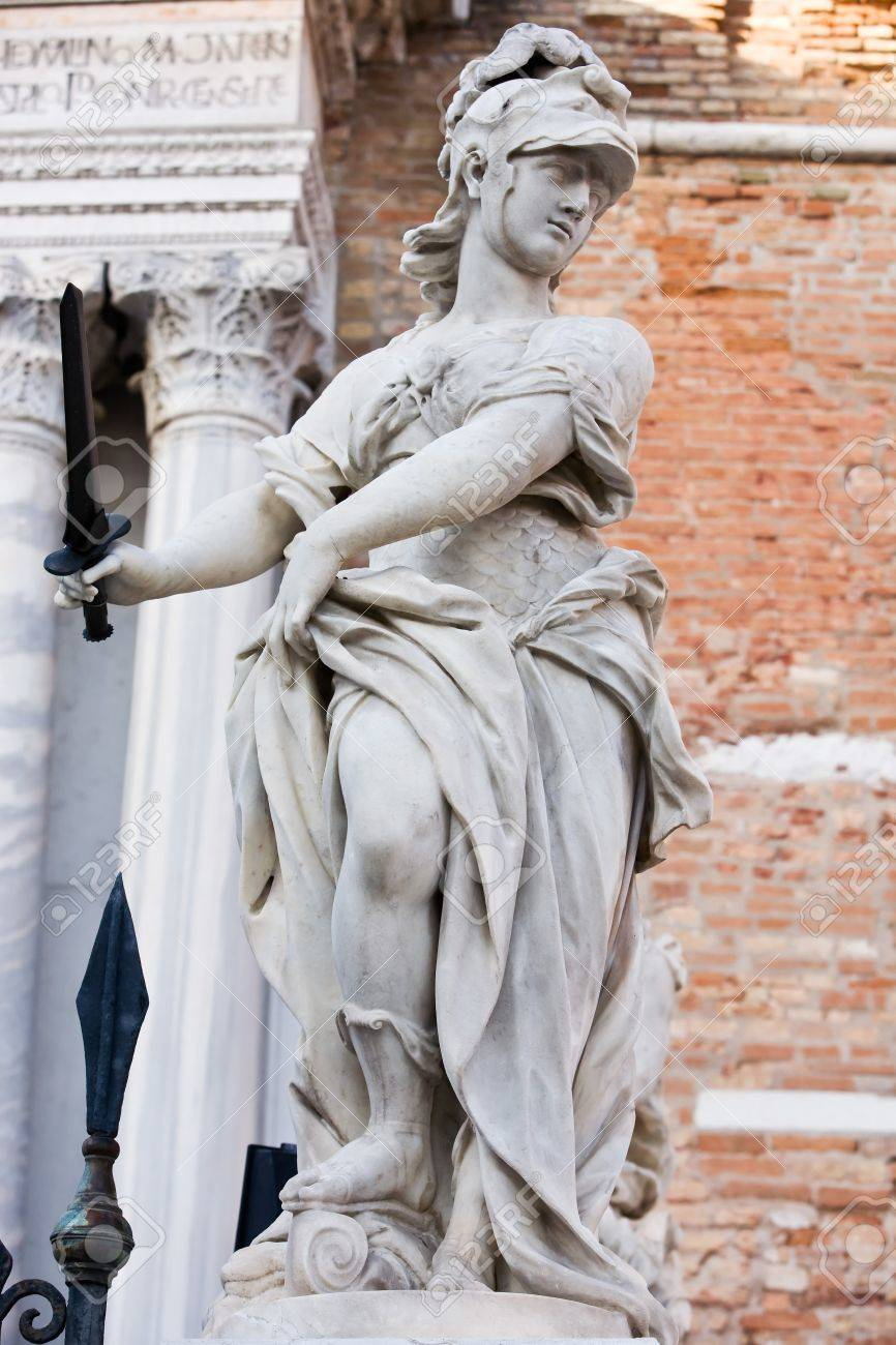 statue of helmeted pallas athena minerva in the beautiful city of venice in italy Stock Photo - 16923444