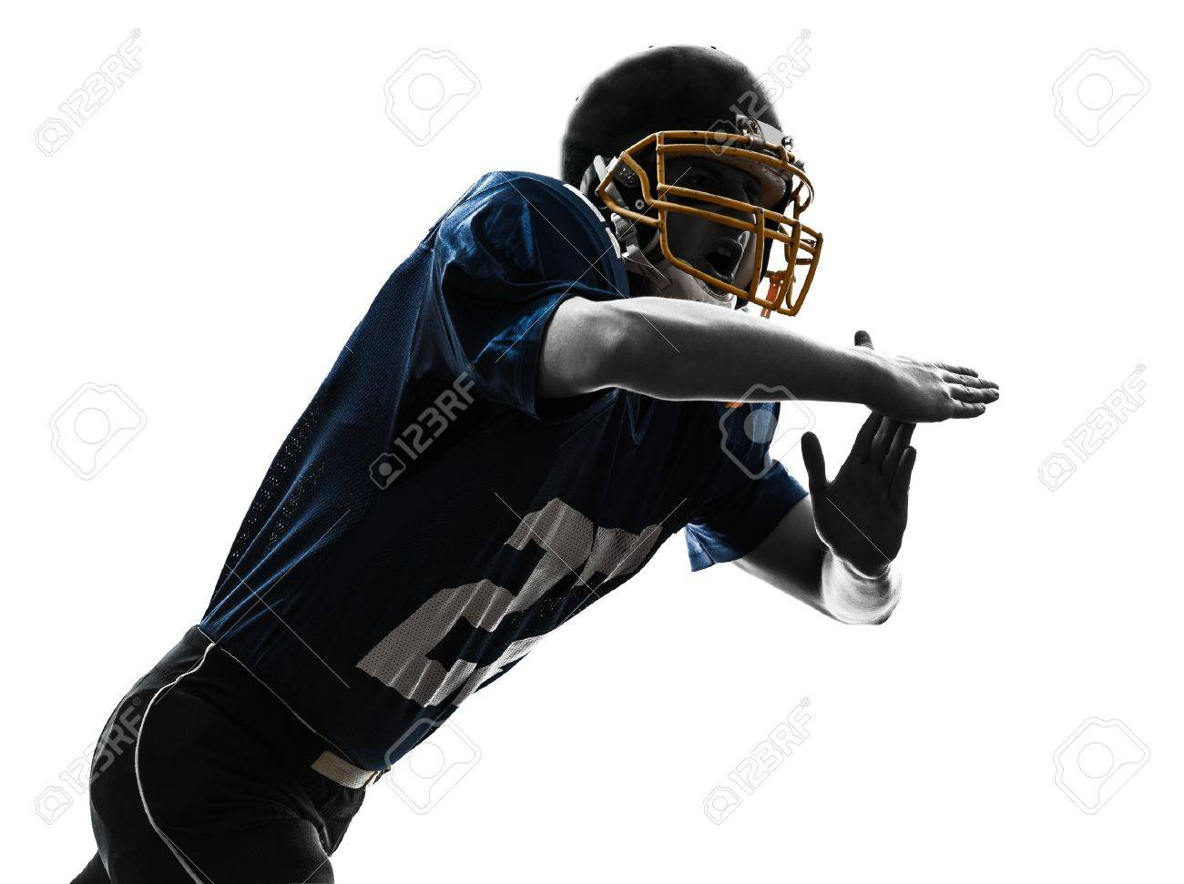 one caucasian american football player man time out gesturing in silhouette studio isolated on white background Stock Photo - 18353513
