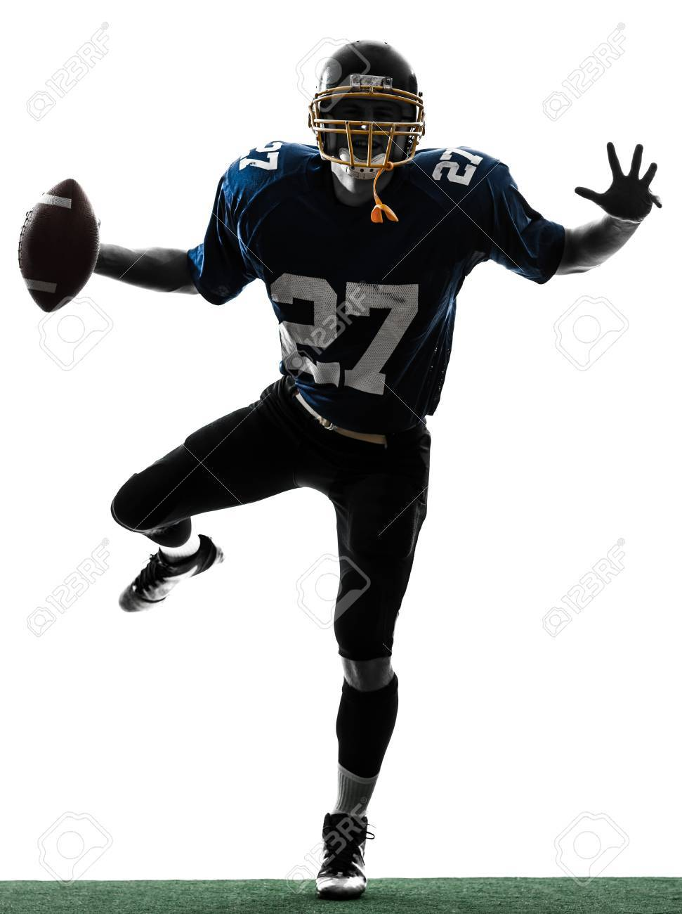 one caucasian american football player man triumphant in silhouette studio isolated on white background Stock Photo - 18632613
