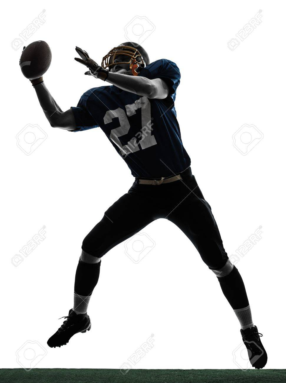 one caucasian american football player man catching receiving in silhouette studio isolated on white background Stock Photo - 18632617