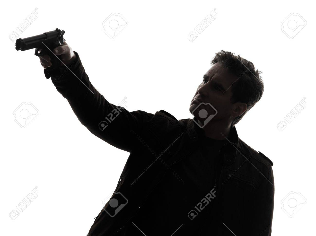 one man aiming gun silhouette studio white background Stock Photo - 19755001