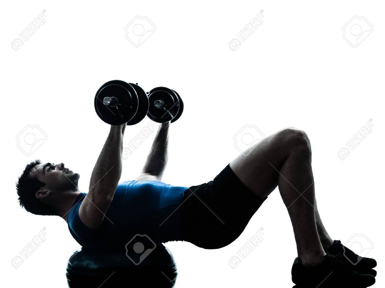 one caucasian man exercising weight training on bosu workout fitness in silhouette studio  isolated on white background Stock Photo - 19755090