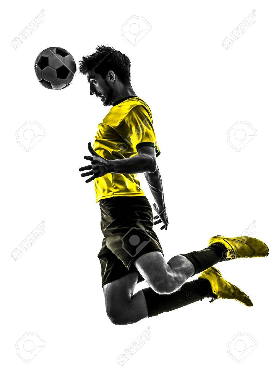 one brazilian soccer football player young man heading in silhouette studio  on white background Stock Photo - 19754974