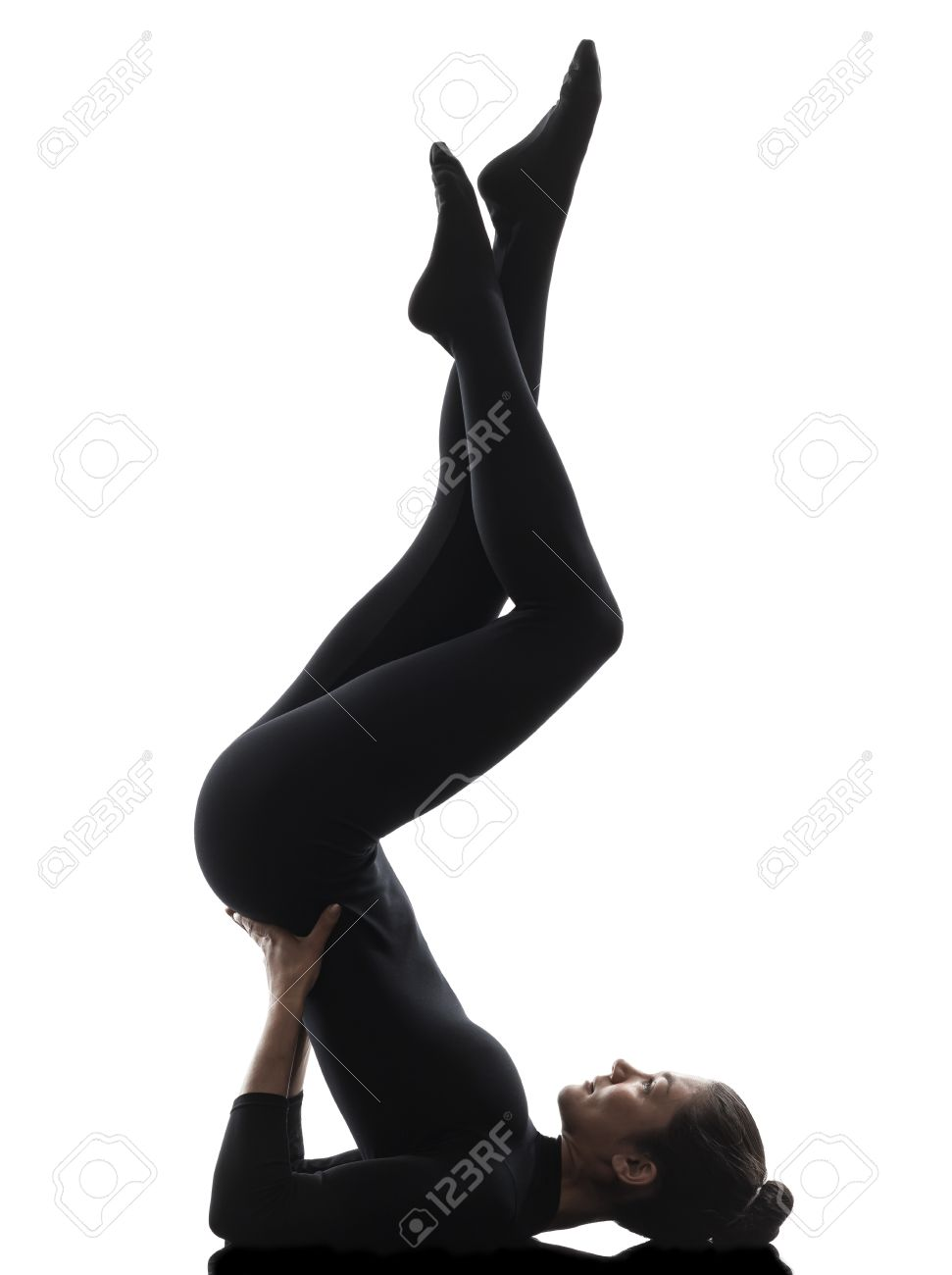 One Caucasian Woman Practicing Gymnastic Salamba Sarvangasana Stock Photo Picture And Royalty Free Image Image 20879110