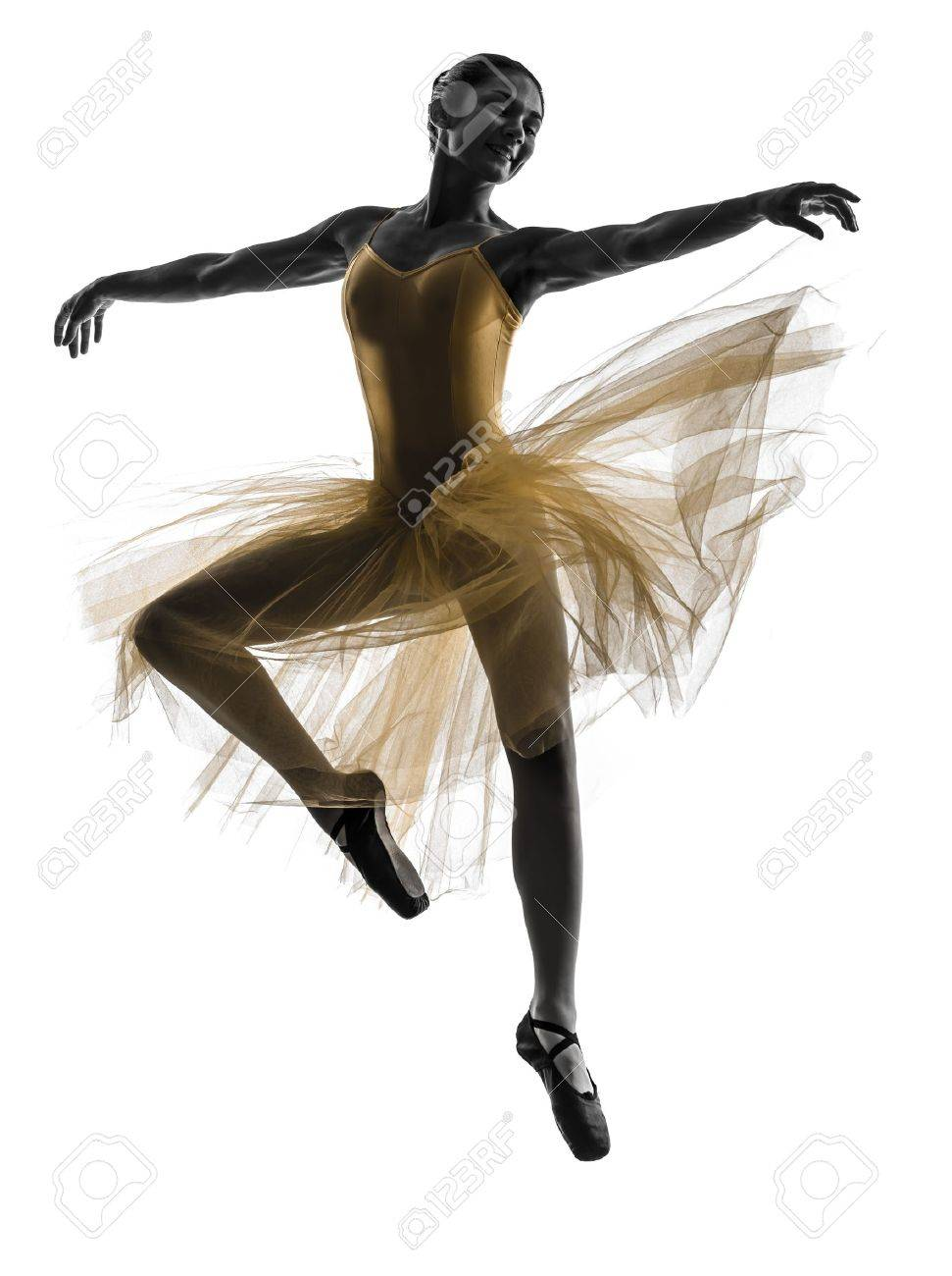 one  woman   ballerina ballet dancer dancing in silhouette on white background Stock Photo - 21283633