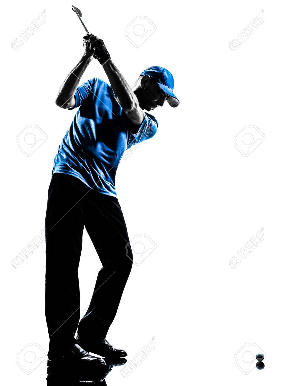 one man golfer golfing golf swing in silhouette studio isolated on white background stock photo