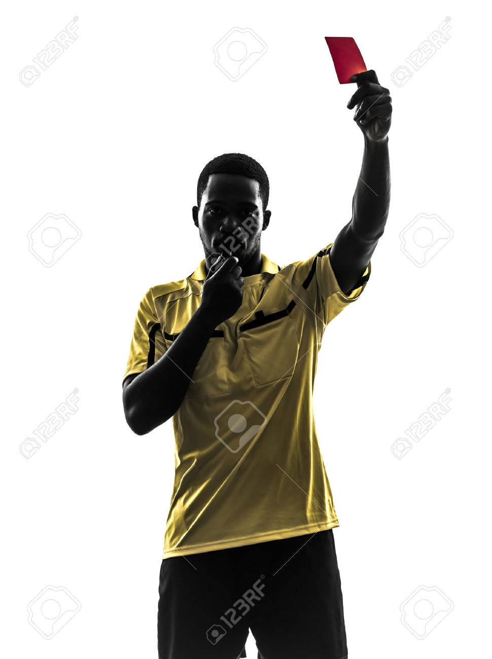 one african man referee showing red card in silhouette on white background - 23376611