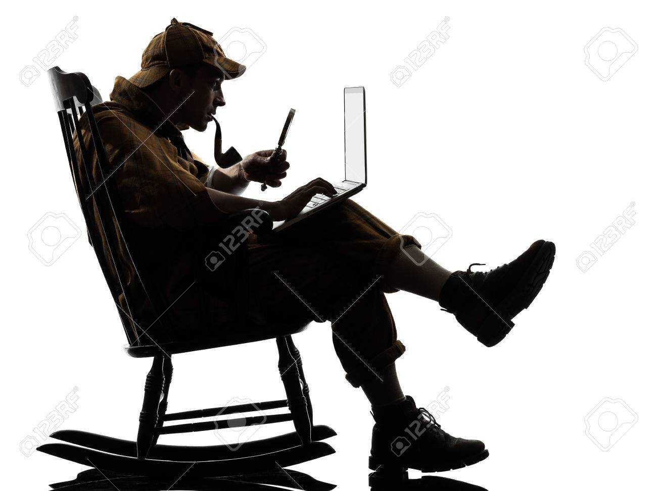Exceptionnel Private Investigator With Computer Laptop Silhouette Sitting In Rocking  Chair In Studio On White Background Stock