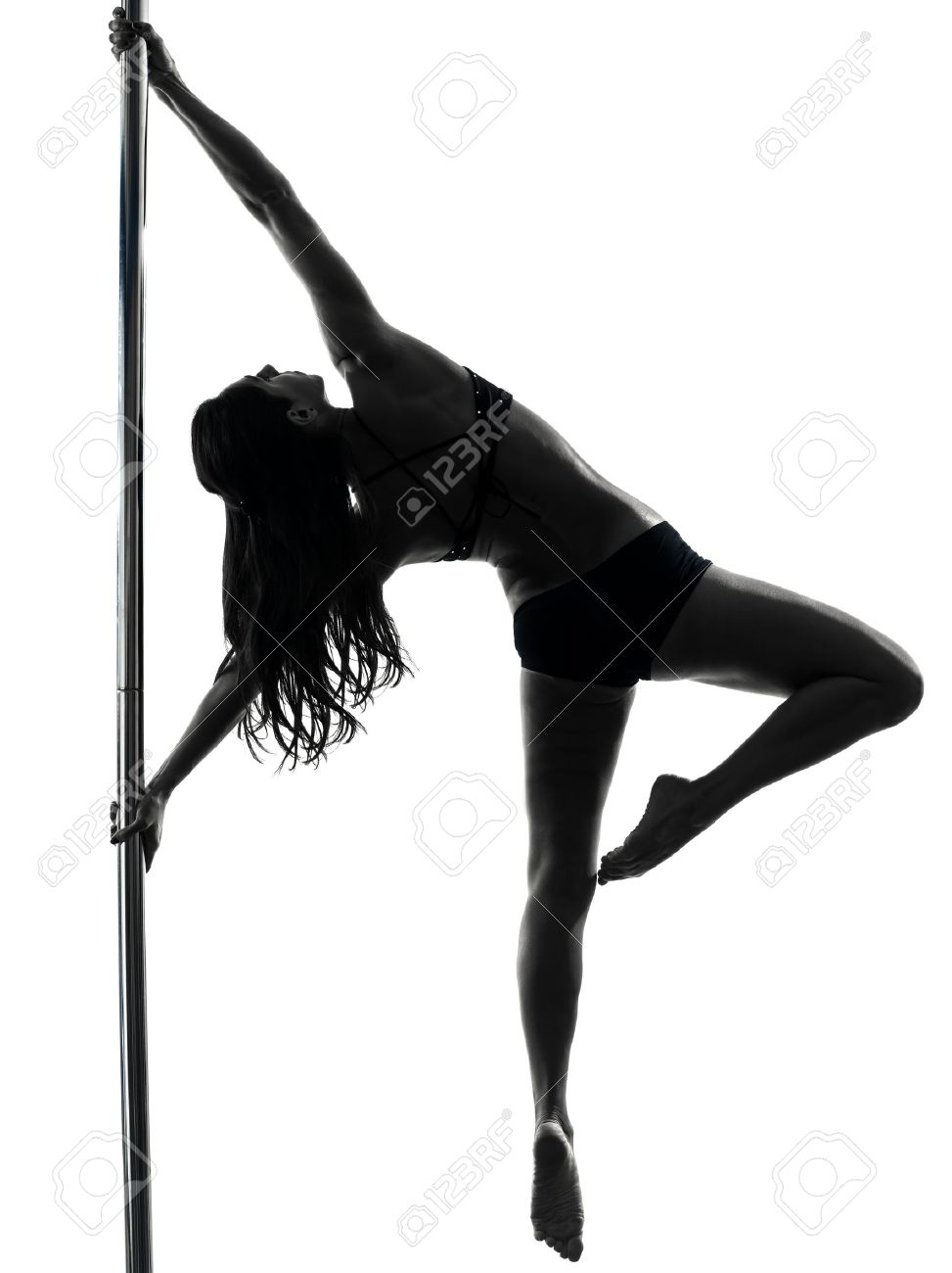 one caucasian woman pole dancer dancing in silhouette studio isolated on  white background. Pole Dance Stock Photos   Pictures  Royalty Free Pole Dance Images