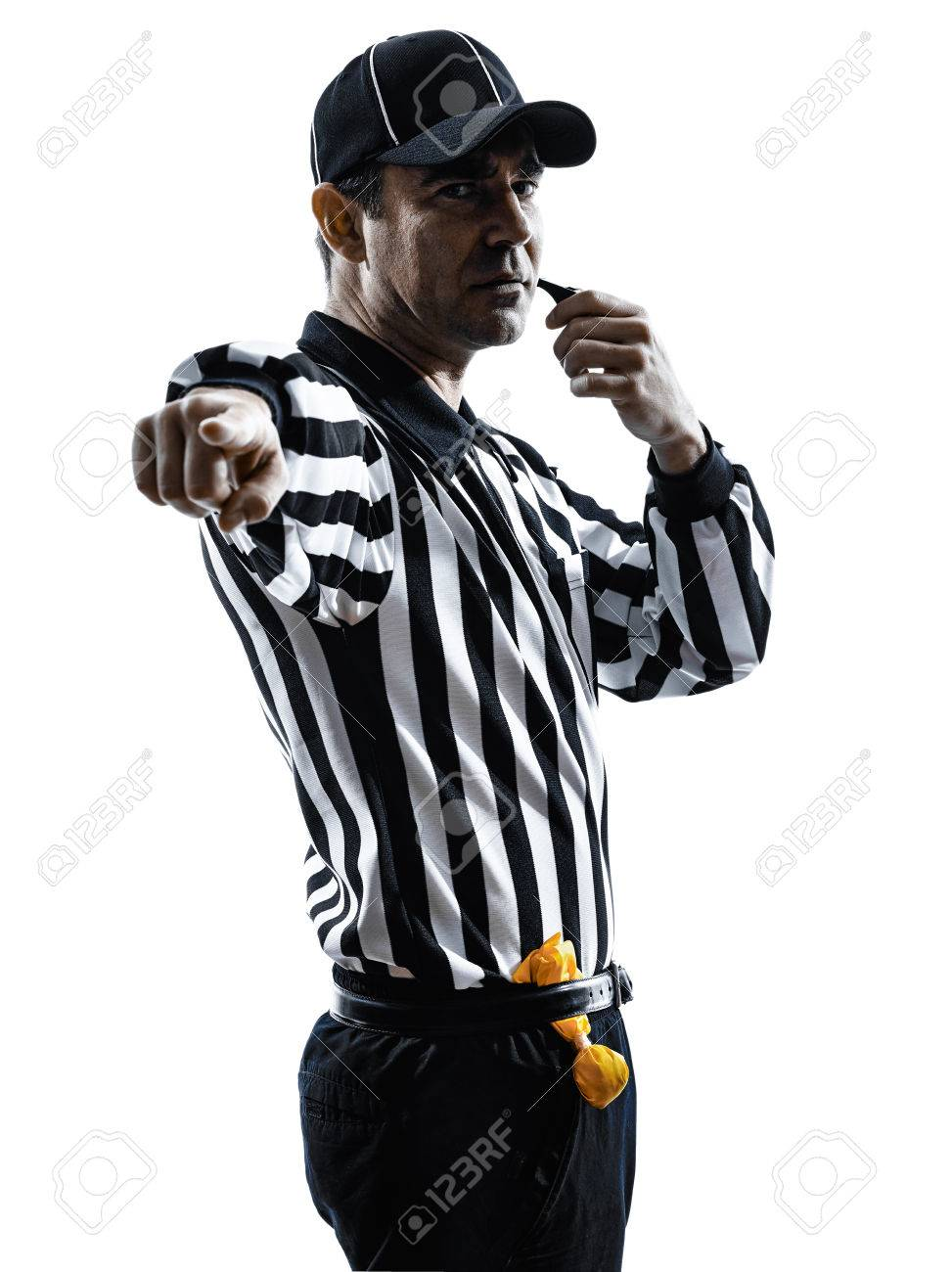 american football referee whistle whistling in silhouettes on white background - 28055256