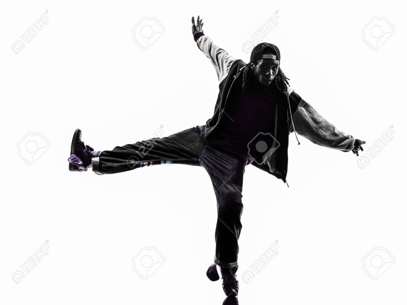 edaac4d4d one hip hop acrobatic break dancer breakdancing young man silhouette white  background Stock Photo - 33278562