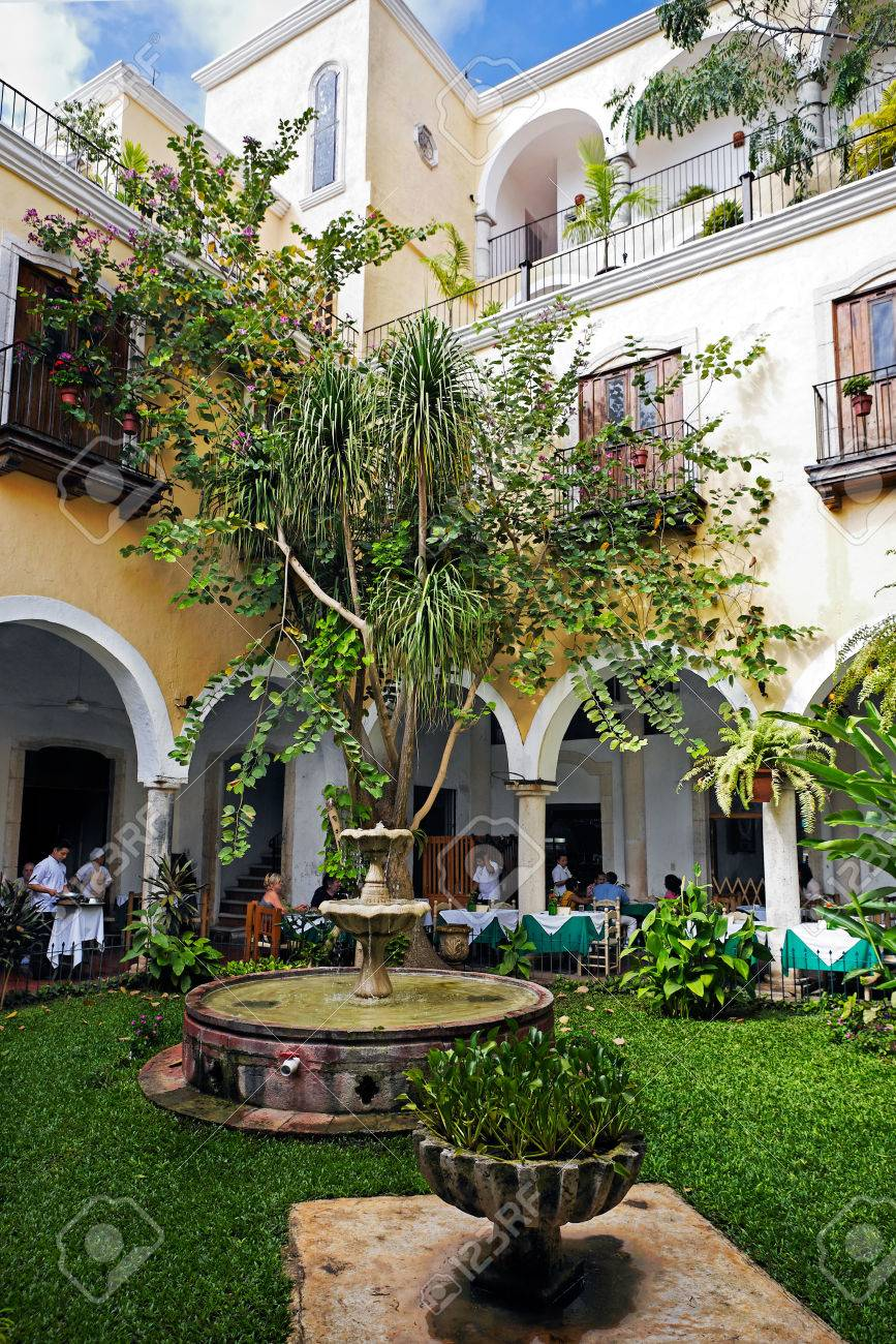 View Of The Spanish Colonial Style Patio Of Del Marques Restaurant In  Valladolid Yucatan Mexico The