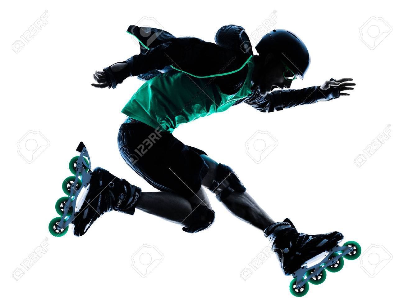 one caucasian man Roller Skater inline Roller Blading in silhouette  isolated on white background Stock Photo