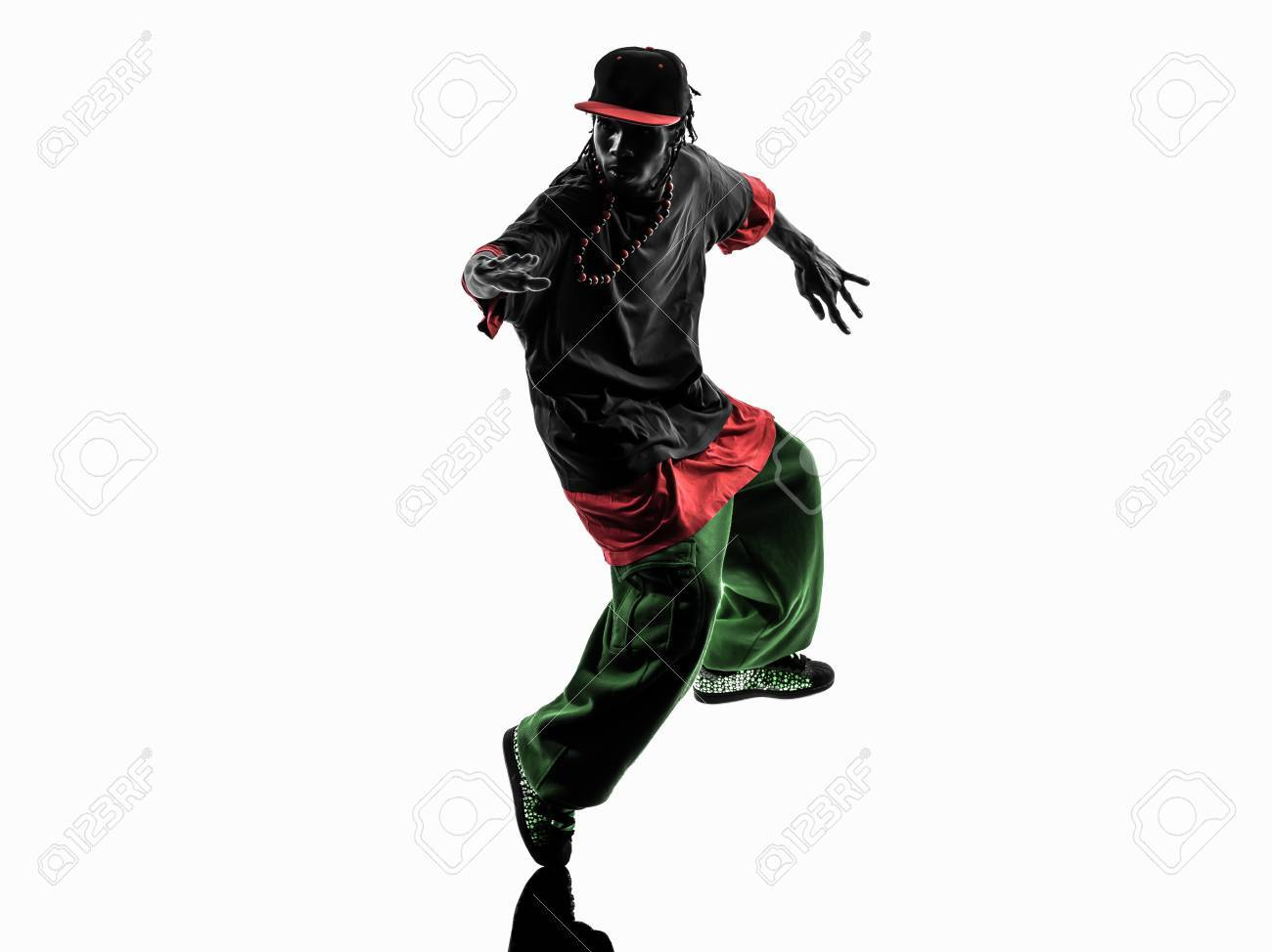22bffe545 one hip hop acrobatic break dancer breakdancing young man silhouette white  background Stock Photo - 39953073