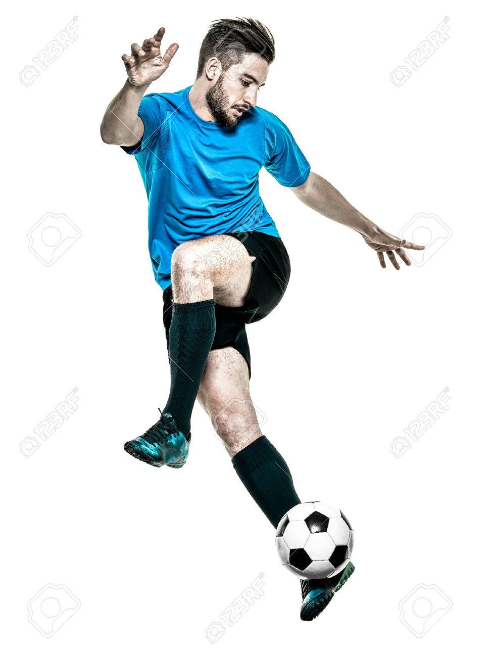 one caucasian Soccer player Man isolated on white backgound - 50075276