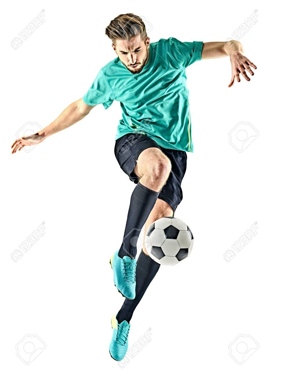 one caucasian soccer player man isolated on white background - 70504150