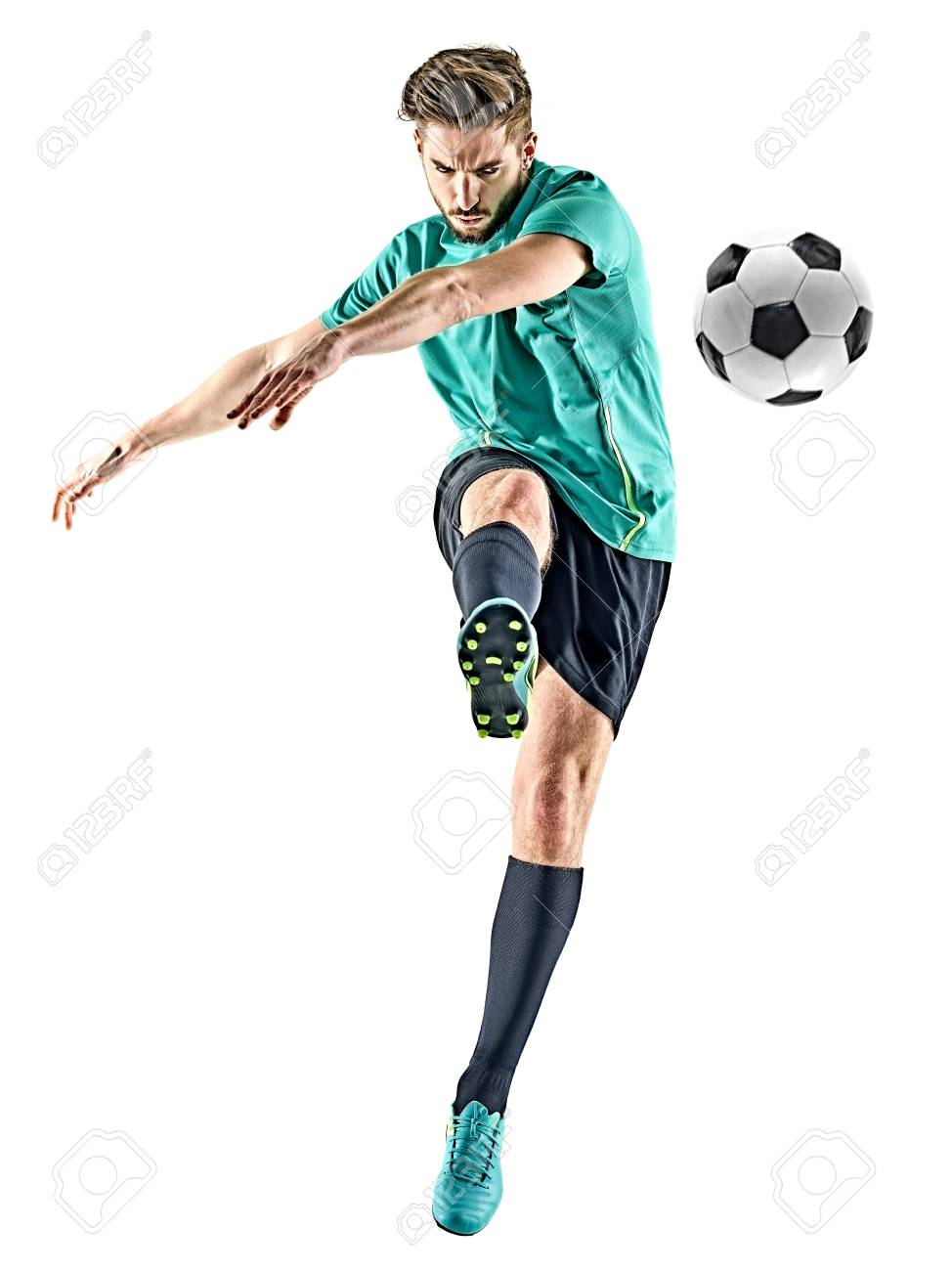 one caucasian soccer player man isolated on white background - 97045049