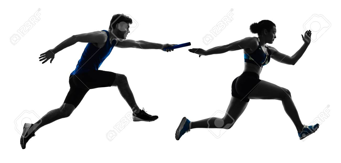 athletics relay runners sprinters running runners in silhouette isolated on white background - 96931482