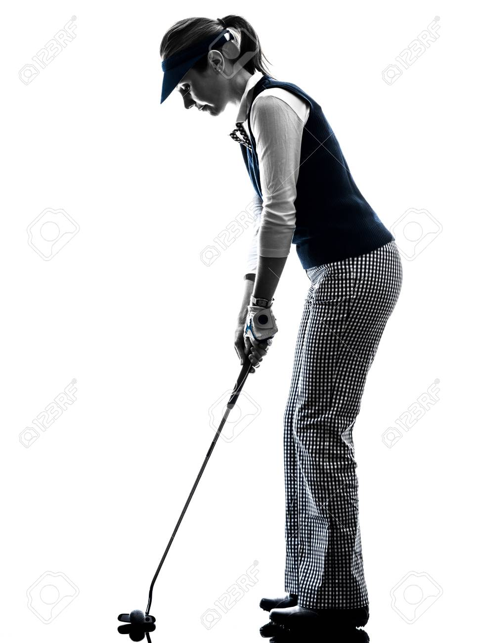 Woman Golfer Golfing Silhouette In White Background Lizenzfreie