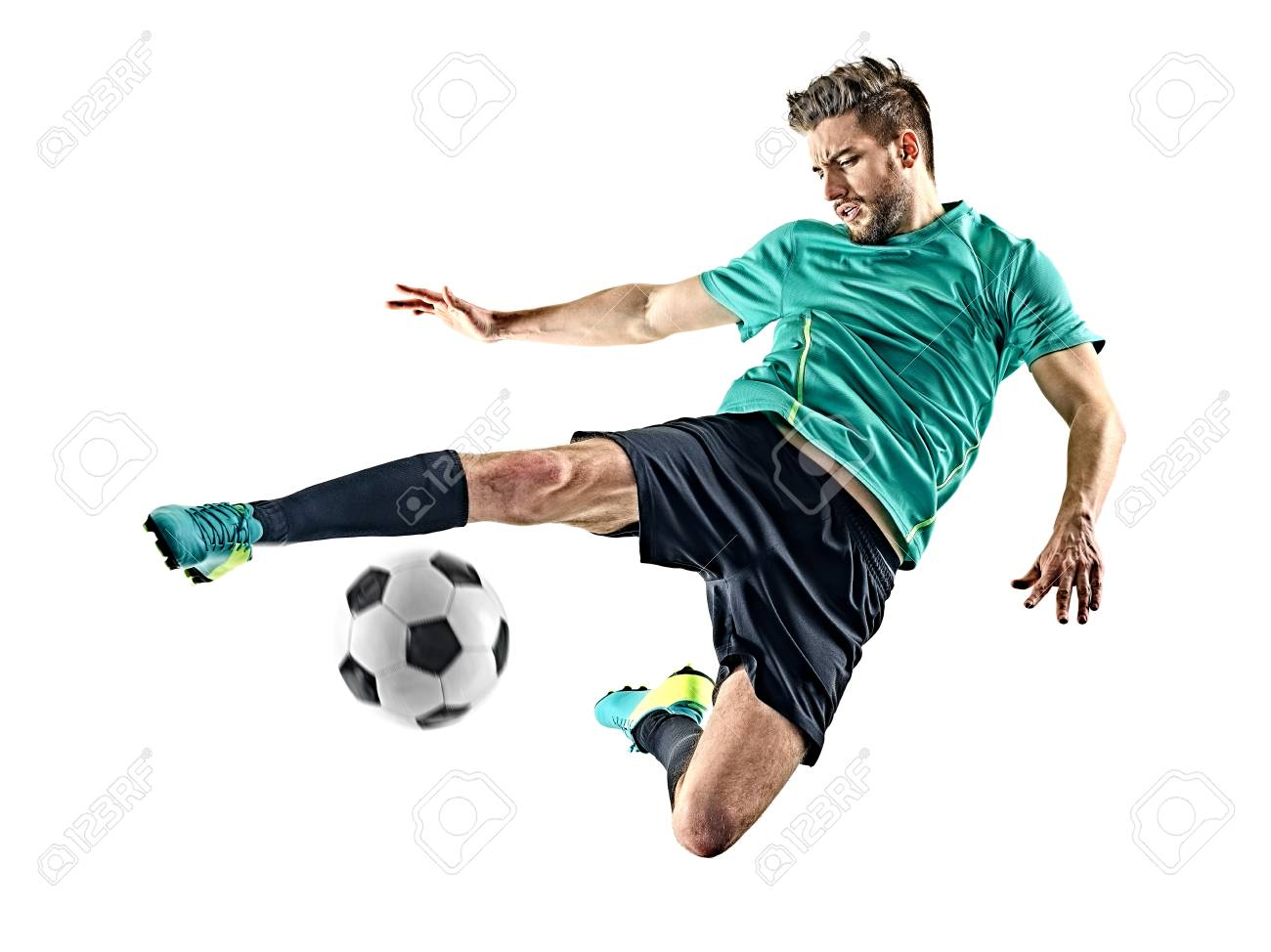 one caucasian soccer player man isolated on white background - 98929206
