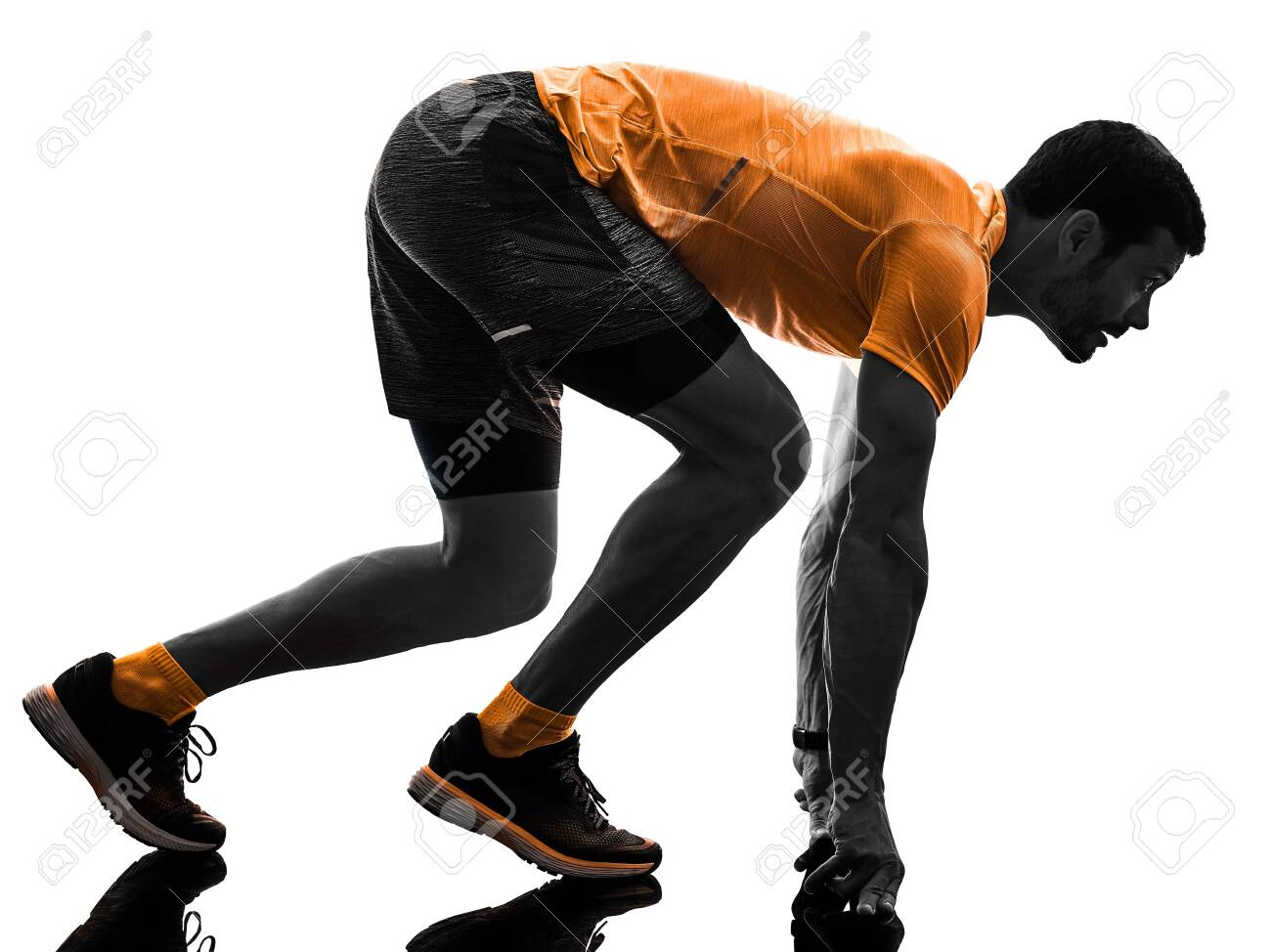 one caucasian man runner running jogging jogger silhouette isolated on white background - 121655917