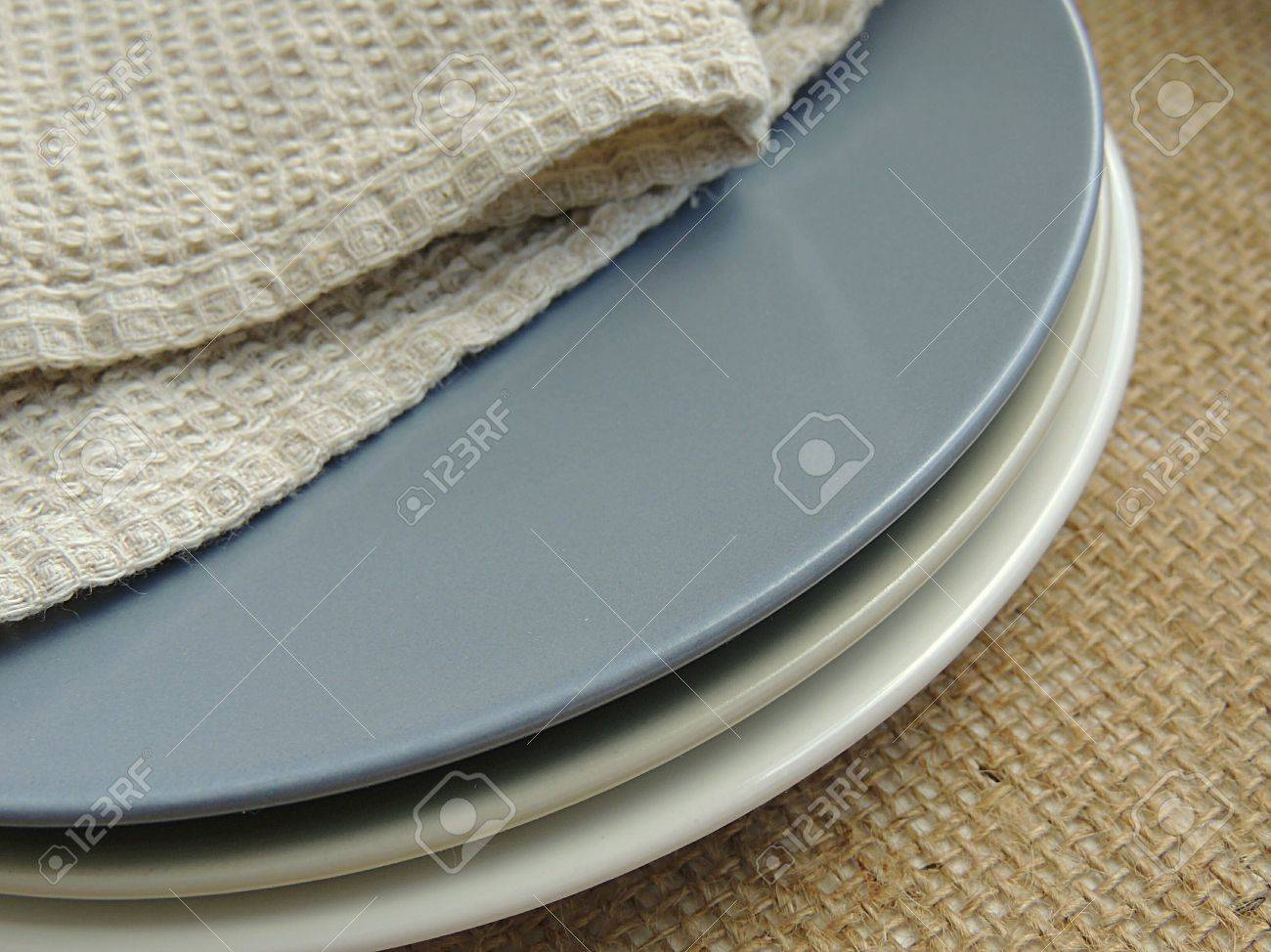 Matte Plates With Natural Linen Towel On Burlap Background, Food ...