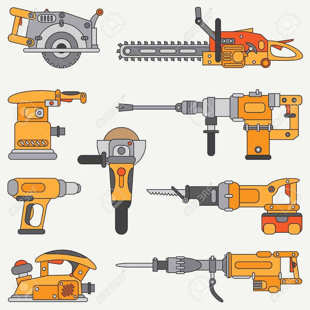 Line Flat Icon Set With Building Electrical Tools Construction