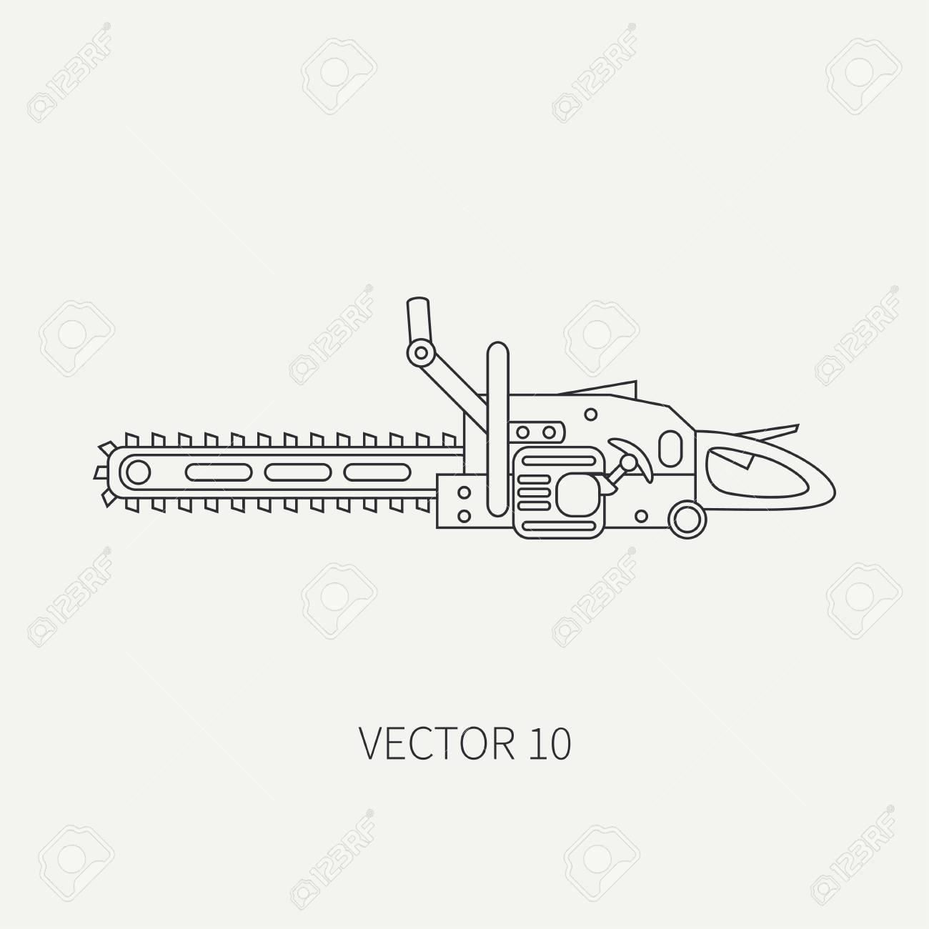 Line Flache Vektor-Symbol Mit Gebäude Elektrische Werkzeug ...