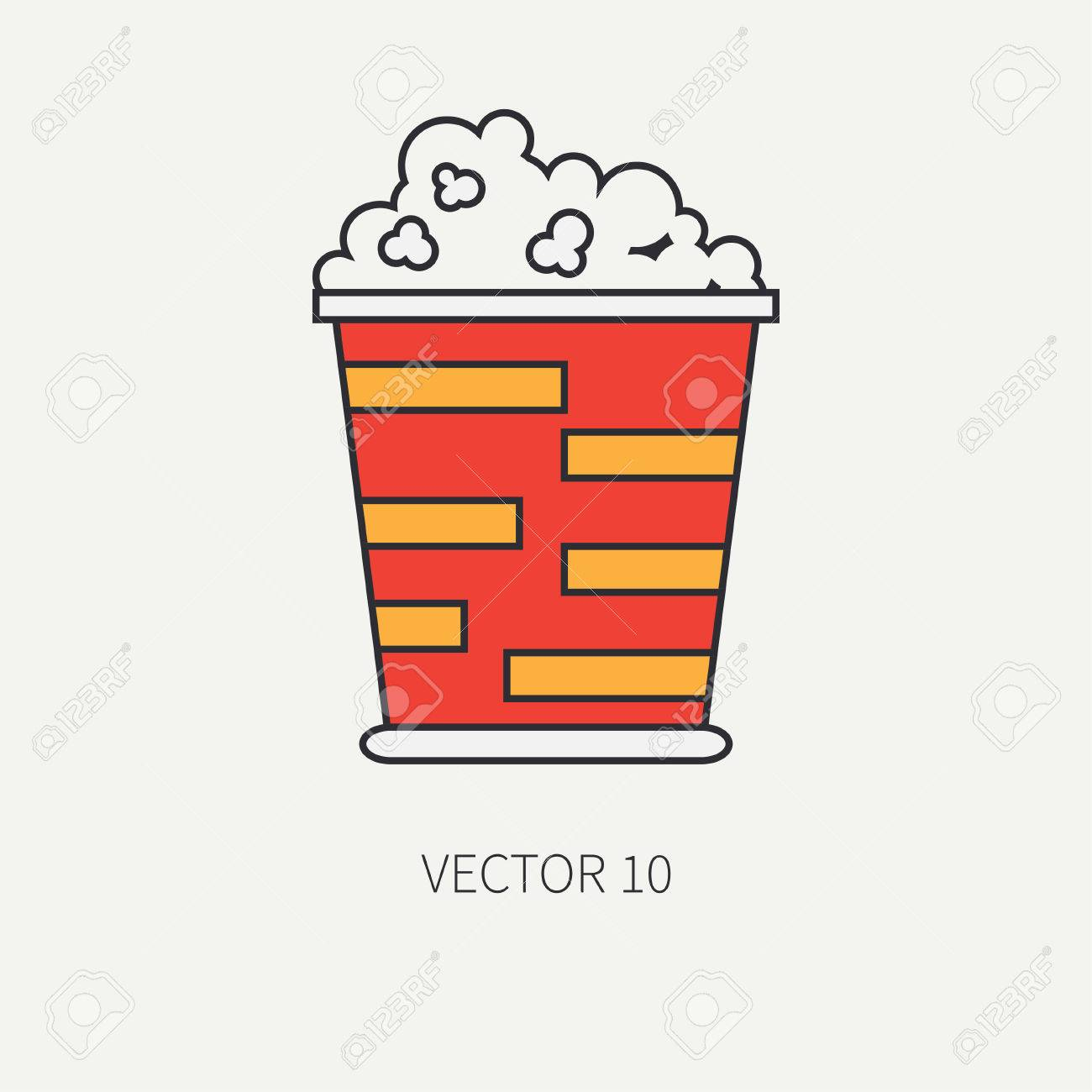 Line Flat Color Vector Icon Elements Of Movie Theater Pop Culture