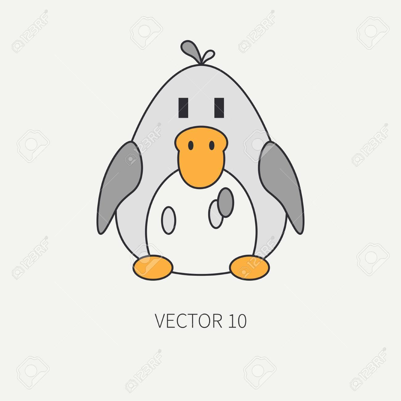 Icono De Vector De Color De Linea Plana Con Lindo Animal Para